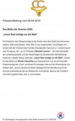 Das neue Sessionsmotto 2020 des Düsseldorfer Karnevals